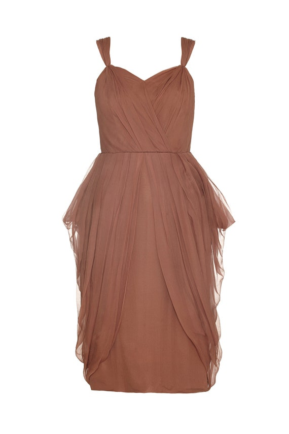 Vintage 1960s Pleated Silk Chiffon Cocktail Dress