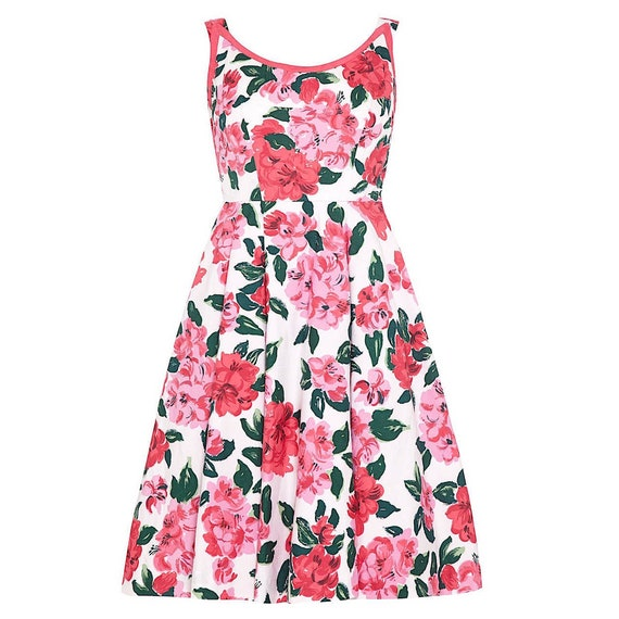1950s Horrockses Floral Cotton Dress With Scoop Ba