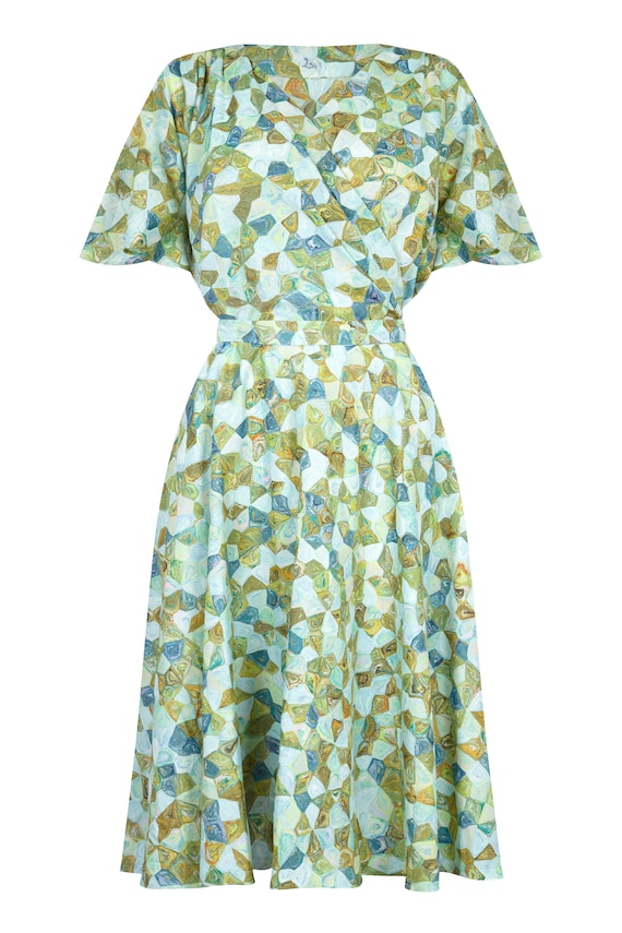 Vintage 1950s Silk Pale Green Abstract Novelty Patterned Dress