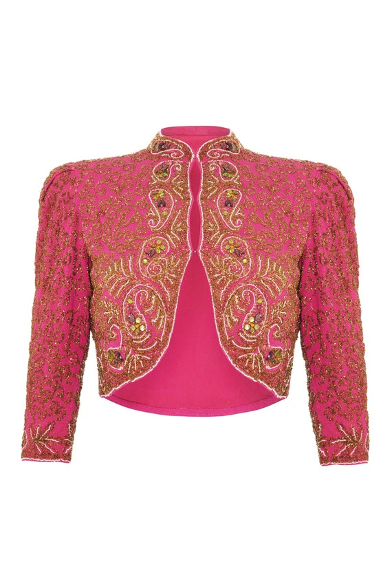 1930s Pink Silk Beaded Bolero Size 10