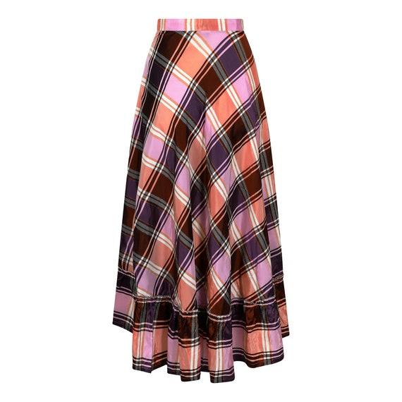 1970s A-line Plaid Pattern Metallic Weave Skirt - image 2