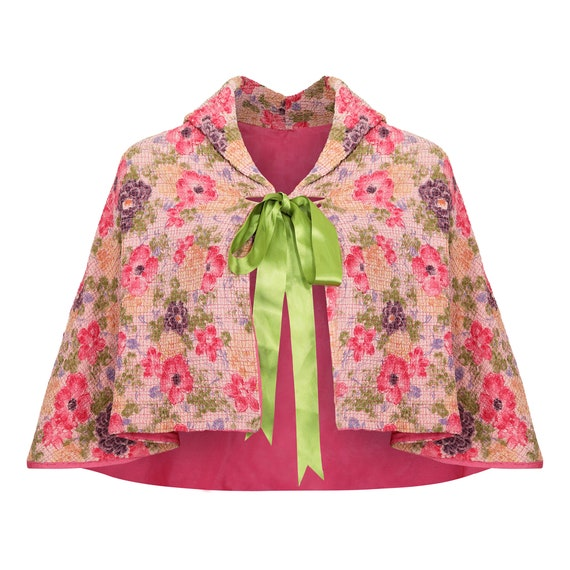 1930s Floral Textured Bed Jacket Cape