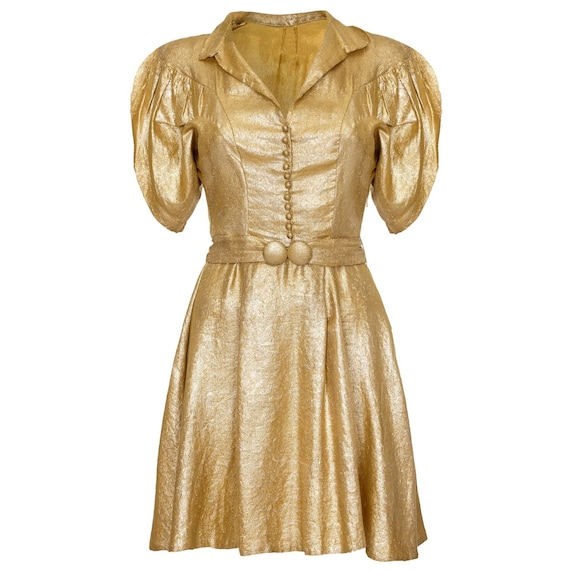 Late 1930s Gold Lame Party Dress with Cape Sleeves
