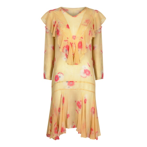 1920s Yellow Chiffon Floral Dress