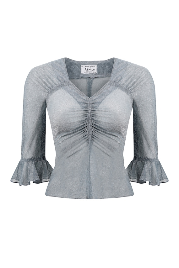 Early 1970s Quorum Silver Disco Top With Flounce S