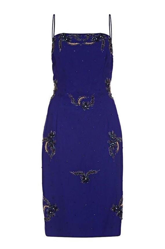 5548ab818e3 Selfridges 1950s Midnight Blue Chiffon Beaded Cocktail Dress
