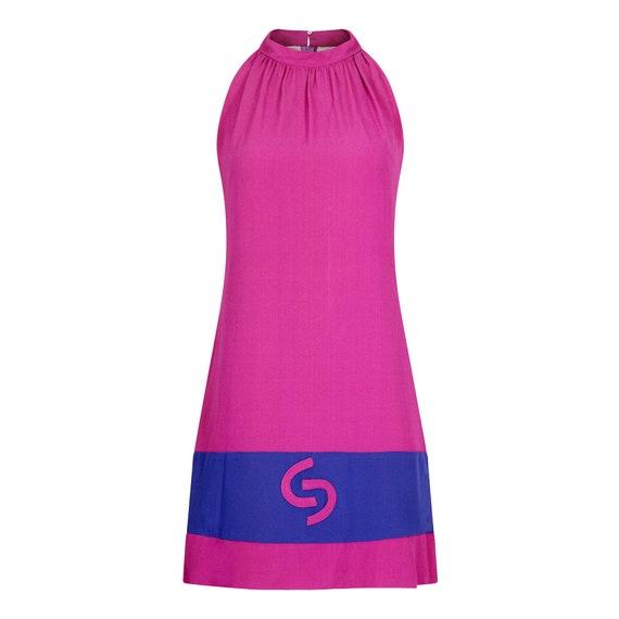 1960s French Crepe Pink & Purple Trapeze Dress