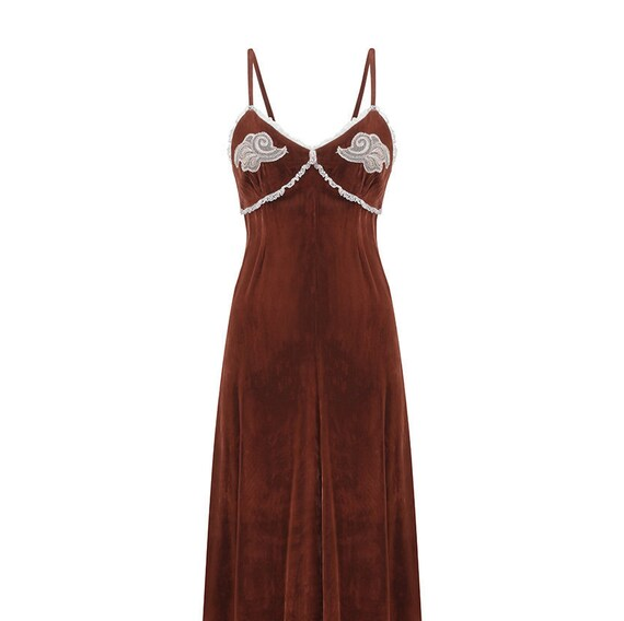 1970s Biba Chestnut Brown Velvet Maxi Dress
