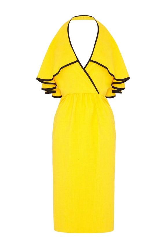 1960s Mollie Parnis Yellow & Black Halterneck Ruff