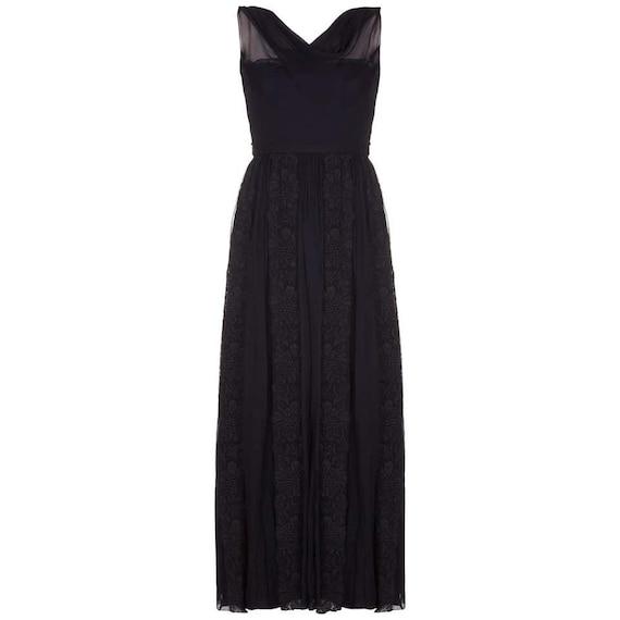 1950s Mainbocher Couture Black Silk Evening Dress