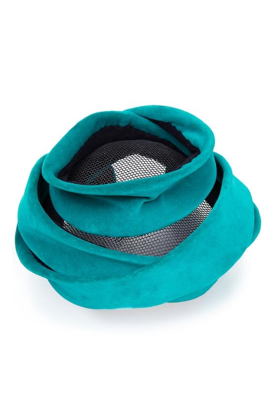 1950s Green Velvet Hat