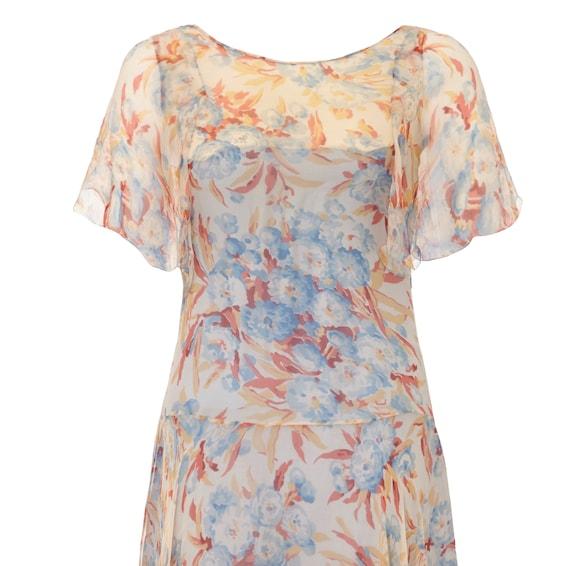 1920s Silk Chiffon Floral Dress Size 6 - image 3
