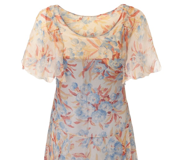 1920s Silk Chiffon Floral Dress Size 6 - image 4