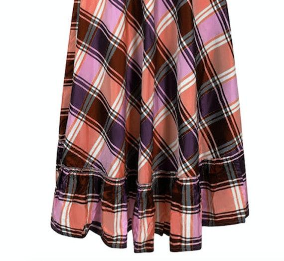 1970s A-line Plaid Pattern Metallic Weave Skirt - image 3
