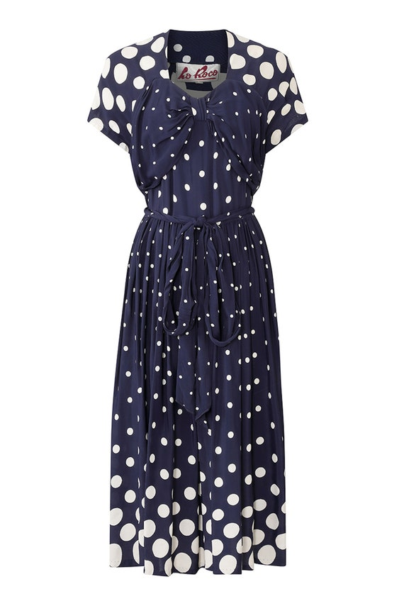 1940s Navy And White Polkadot Rayon Dress