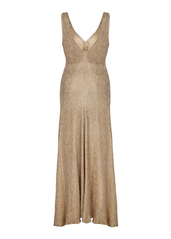 1930s Gold Lame Bias Cut Gown Size 4/6