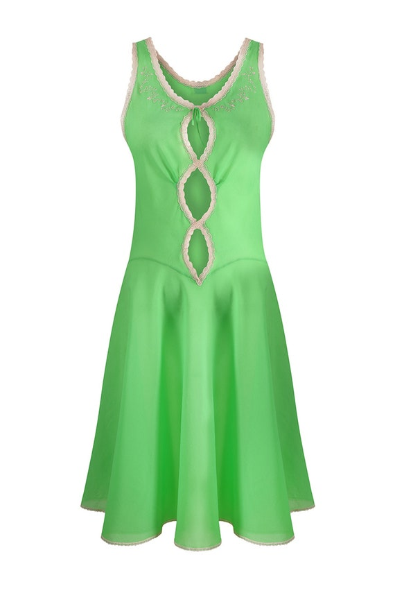 1960s Harrods Emerald Green Lingerie Slip With Lac