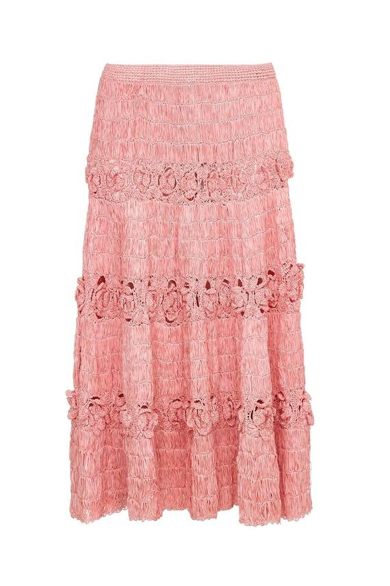 1950s Pink Woven Raffia Skirt With Crochet Detail