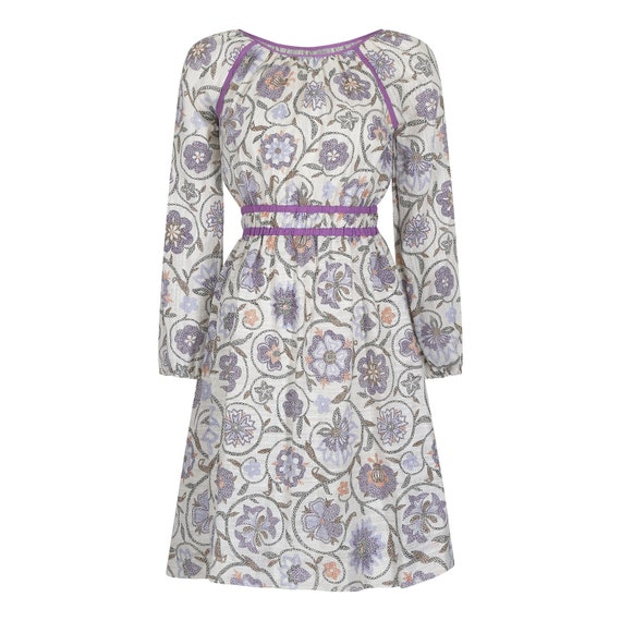 Vintage 1970s Floral Print Cheesecloth Dress