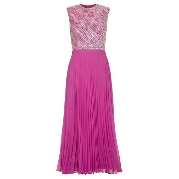 Hannalore 1960s Pink Chiffon Sequined Pleated Dres