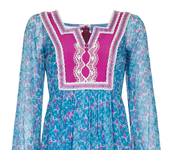 1970s Rumak Couture Boho Silk Chiffon Dress - lik… - image 3