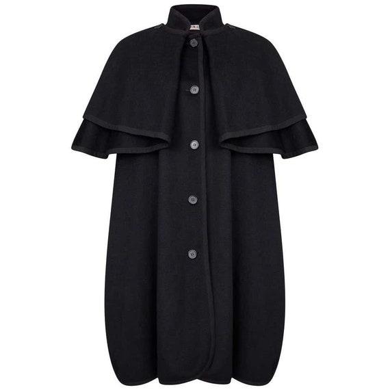 1970s Yves Saint Laurent Black Wool Cape