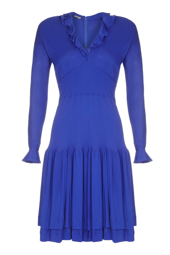 1970s Jean Muir Royal Blue Jersey Dress Size 10