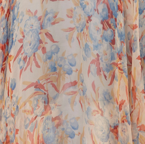 1920s Silk Chiffon Floral Dress Size 6 - image 5