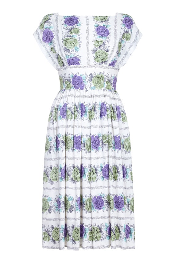 1950s White Cotton Floral Dress With Rose Print Si