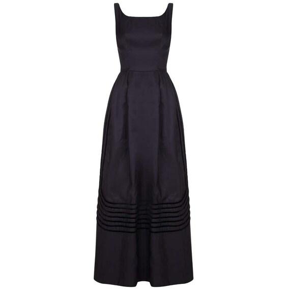 1960s Rappi Black Silk Taffeta Gown with Velvet Ap