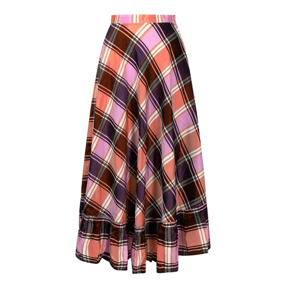 1970s A-line Plaid Pattern Metallic Weave Skirt