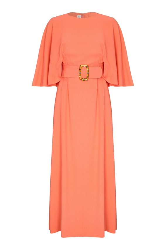 Harry B Popper 1960s Peach Maxi Dress with Cape and Jewelled Belt UK Size 12 14
