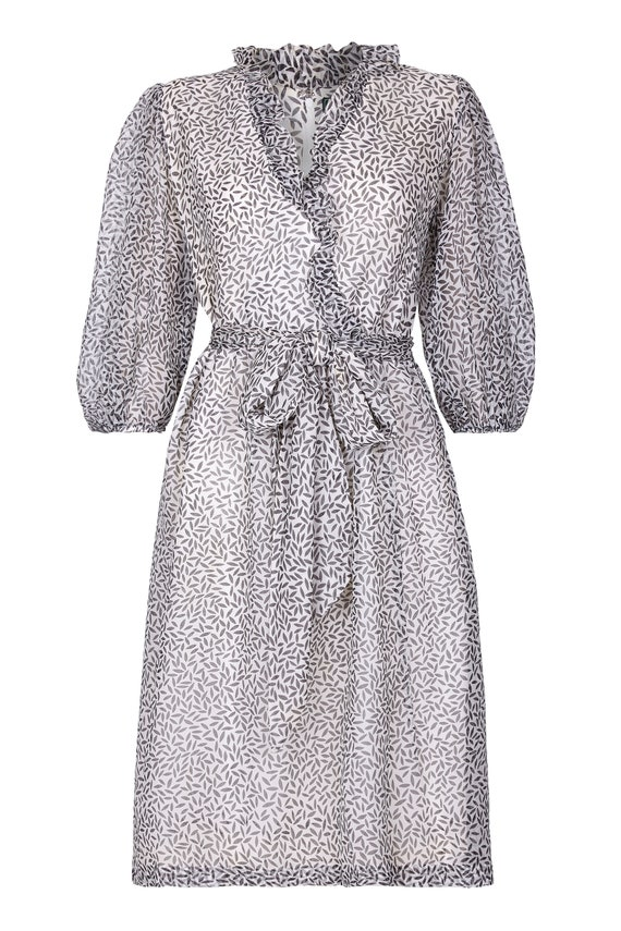 Norman Hartnell 1970s Couture Silk Crepe Monochrom
