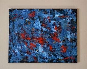 Forêt Pluvieuse Abstrait Peinture Acrylique Sur Toile 24 X 12 Etsy