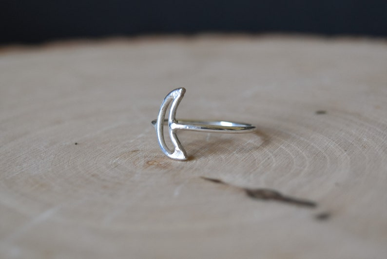 Minimalist Boho Sterling Silver Crescent Moon Ring Stacking Ring
