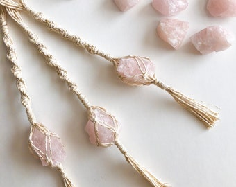 bbea0ddca Rose Quartz Macrame Charm   Macrame Wall Hanging   Crystals   Plant Hanger    Tassels   Valentines Day   Chakra   Healing Stones   Fiber Art