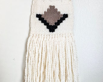 Taupe/Black Mini Weaving   Woven Wall Hanging   Tapestry