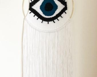 Evil Eye Weaving | Woven Wall Hanging | Tapestry | Bohemian