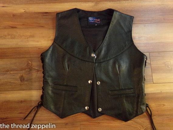 Ladies Vintage Leather Biker Vest