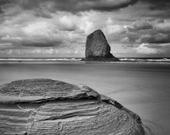 Low Tide / beach black and white photograph, fine art, beach wall art print, ocean photo, b&w photography, beach decor, sand, seascape