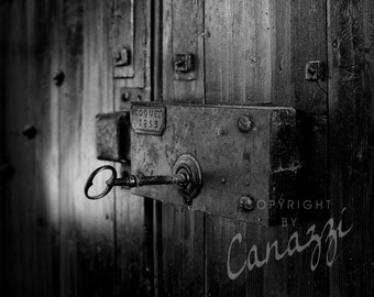 Latched / black and white photograph, fine art, wall art print, b&w photography, wall decor, travel, Paris France, French key lock