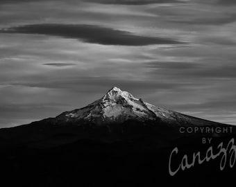 Mt. Hood / landscape black and white photograph, fine art, wall art print, landscape photo, b&w photography, nature wall decor
