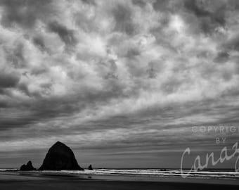 Haystack Rock / beach black and white photograph, fine art, beach wall art print, ocean photo, b&w photography, beach decor, sand, seascape