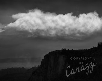Clouded Crown Point / landscape black and white photograph, fine art, wall art print, landscape photo, b&w photography, nature wall decor