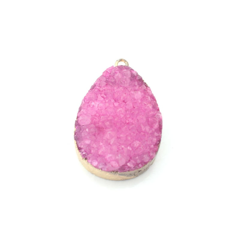 Z188 Pink Resin Druzy Pendant Gold Plated Larger Size 35mm x 23mm