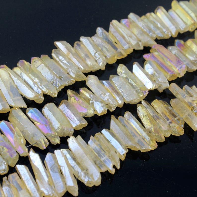 Rough Clear Quartz Crystal Stick Spike Chip Natural Gemstone Beads Full Strand