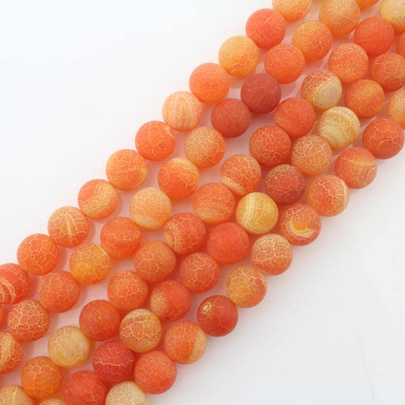 6mm8mm10mm12mm round beads Orange agate with special texture Orange 15 Dream Fire Dragon Veins Frosted Agate