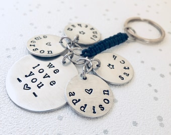 we love you keyring, handstamped keyring, hand stamped key ring, personalised keyring, personalized keyring, we love you, i love you