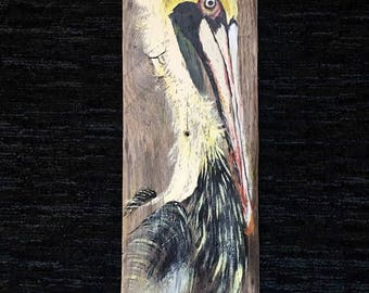 Hand Painted Pelican on Reclaimed Wood