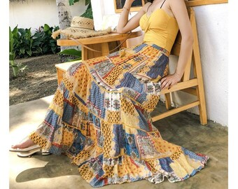 Bohemian Hippie Cotton Gauze Colorful Patchwork Gypsy Broomstick Skirt Mid Calf Size M